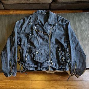 Free People oversized denim Moto jacket